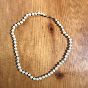 Vintage Single Knotted Strand of Faux Pearls